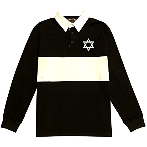 Star Of David Chest Long Sleeve Polo Rugby Shirt Large Black - 508 Rugby