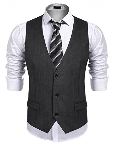 JINIDU Men's Business Suit Vest,Slim Fit Skinny Wedding Waistcoat by JINIDU