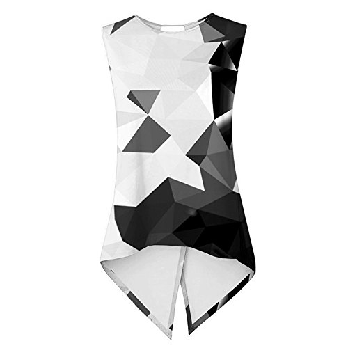 Miduo Women Fashion 3D Digital Print Vests Round Neck Sleeveless T-Shirt Back Cross Tank Casual Tops (Geometric, (Geometric Print Top)