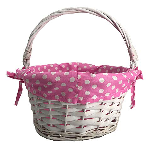 (CFP White Easter Willow Basket - Kids Easter Gift Baskets, Wicker Easter Baskets with Polka Dot Liner, Traditional Kids Easter Gift Basket, Polka Dot Liner Can Be Uninstall and Tie)