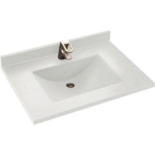 Granite Depth Swanstone Bath Sink - Swan CV02237.035 Contour 37-in L x 22-in W x 6.25-in H Solid Surface Vanity Top, Arctic Granite