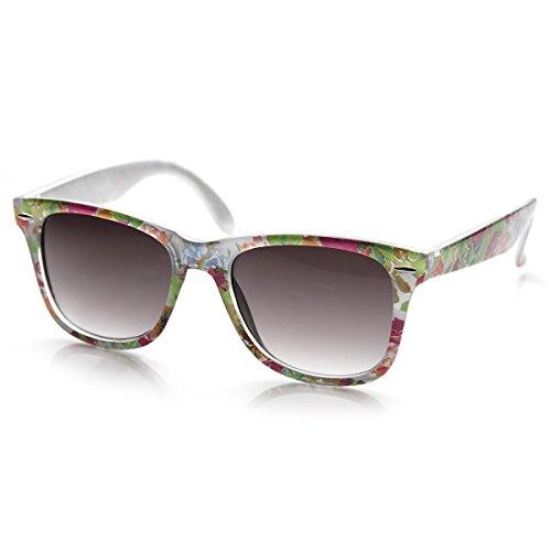 zeroUV - Flower Print Floral Translucent Womens Horn Rimmed Sunglasses (White - Sunglasses Lavender
