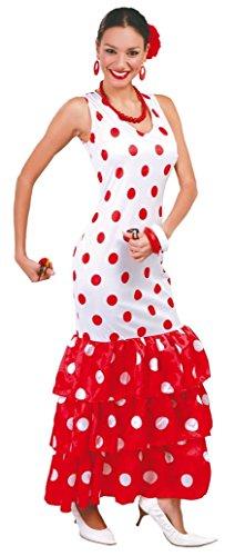 Ladies Sexy Spanish Dancer White/Red Polka Dot Flamenco International Fancy Dress Costume Outfit (UK 16-18)]()