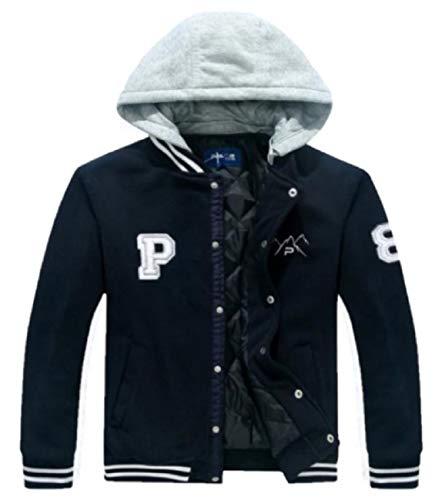 (The Polar Club Big Boys' Fleece Varsity Baseball Jacket Removable Hood (Navy- L/14-16))