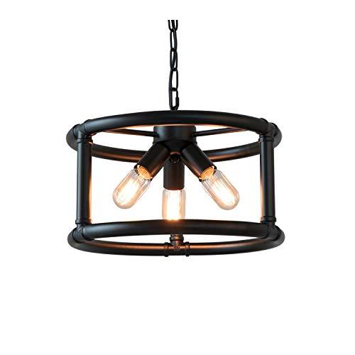 Anmytek Round Rustic Pendant Light Industrial Metal Frame Adjustable Chain Chandelier E26 Base Bulb Hanging Lighting Kitchen Island Vintage Ceiling Light Fixture 3-Light - Pendant Adjustable Chandelier