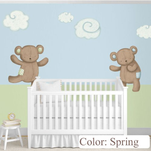 (My Wonderful Walls Nursery Wall Decor Teddy Bears Decals and Clouds Wall Stickers, Spring)