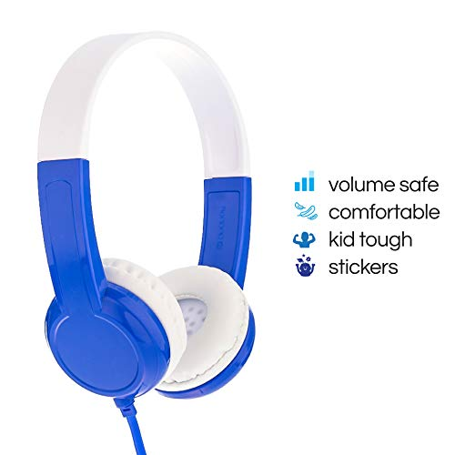 BuddyPhones Discover | Kids Headphones | Non-Foldable, Durable, Comfortable | Kids Safe Volume Limiting | Built in Audio Splitter | Blue