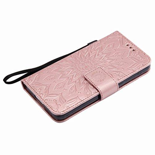 Yiizy Huawei Honor 6 Custodia Cover, Sole Petali Design Sottile Flip Portafoglio PU Pelle Cuoio Copertura Shell Case Slot Schede Cavalletto Stile Libro Bumper Protettivo Borsa (dell'oro della Rosa)
