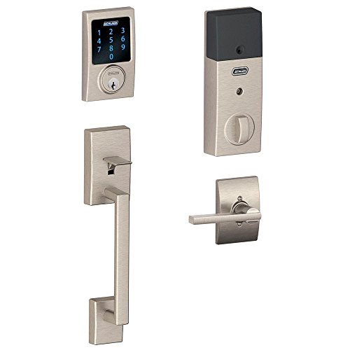 Schlage Connect Century Touchscreen Deadbolt with Built-In Alarm and Handleset Grip with Latitude Lever, Satin Nickel, FE469NX LAT 619 - Grip Entry Handleset