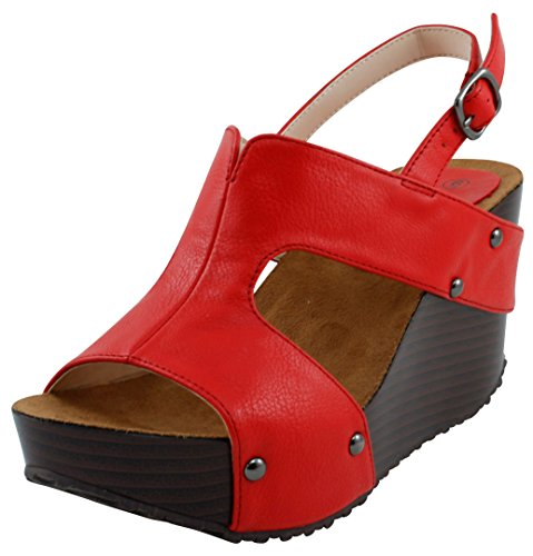 Wedge Heel Slingback Sandals - Cambridge Select Women's Open Toe Side Cutout Slingback Studded Platform Wedge Sandal (11 B(M) US, Red)
