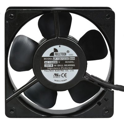 Fulltech Electric UF-12A1223BWH Tubeaxial Fan, 12'' Leads, 4 Wire Connection, 115/230 Volt AC, 120 mm W x 120 mm H x 38 mm D
