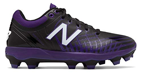 New Balance Men's 4040v5 Molded Baseball Shoe, Black/Purple, 7.5 D US