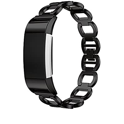ANCOOL Compatilbe with Fitbit Charge 2 Bands Premium Stainless Steel Metal Replacement Watch Band for Charge 2 Smart Fitness Watch
