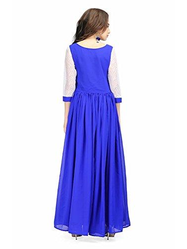 Radanya Georgette Bleu Royal Robe Longue Des Femmes Envelopper Robe Maxi Fête Décontractée S-5xl