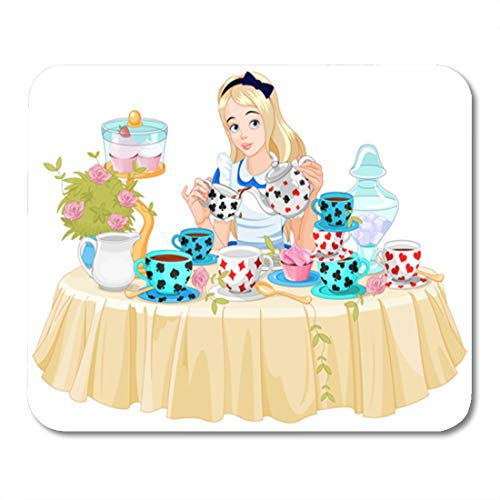 Emvency Mouse Pads Wonderland Alice Pours Cup of Tea from The Kettle Mouse Pad for notebooks, Desktop Computers mats 9.5