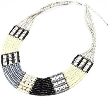CC813-Collar de varias vueltas de perlas Rocaille y tachuelas, color negro/Gris/Beige-modo de fantasía