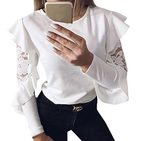 Donne Cime Moda Pizzo Lato Foglia di Loto Cucitura Maglie a Manica Lunga Jumper Bluse T-Shirt Maglioni Casual Rotondo Collo Top Maglietta Bianca