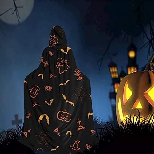 Girls Womens Hooded Cape Full Length Cloak, Pumpkin Bat Ghost Spider Web Halloween Cartoon Art Robe Clothe, 80s 90s Cosplay Costume for School Dinner Party