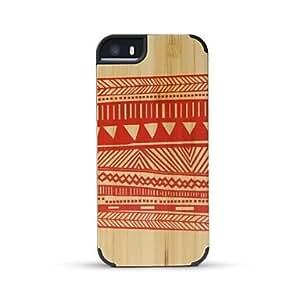 WQQ bambú cubierta posterior manta impresa caja de madera para el iphone 5