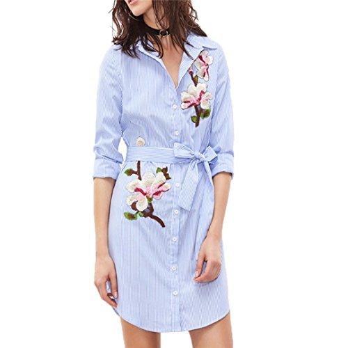 ☀Hot Sale Women Print Vertical Dress Striped Long Sleeves Dress Embroidered Floral Shirt Dress-Todaies (M, Blue) -