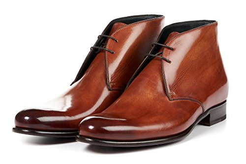 Italian Handmade Brown Leather Boots - Paul Evans Men's Newman Chukka Boots, Italian Calfskin Leather Dress Shoes (Havana Brown)