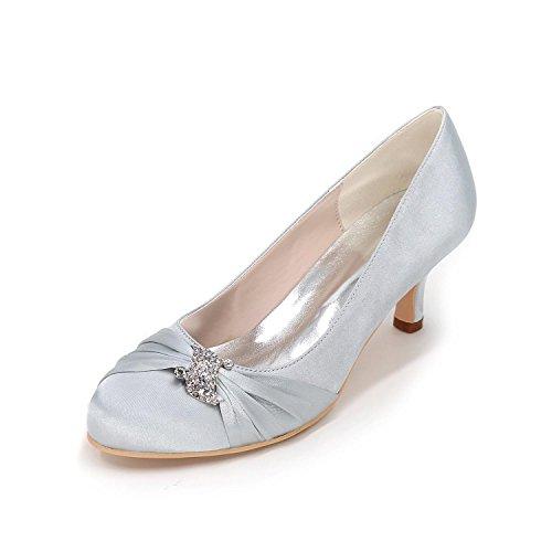 L@YC Women's Heels Spring / Wedding party / Fall Wedges / Heels / Round Toe Silk Wedding / Party & Evening Silver 9bCDZXS