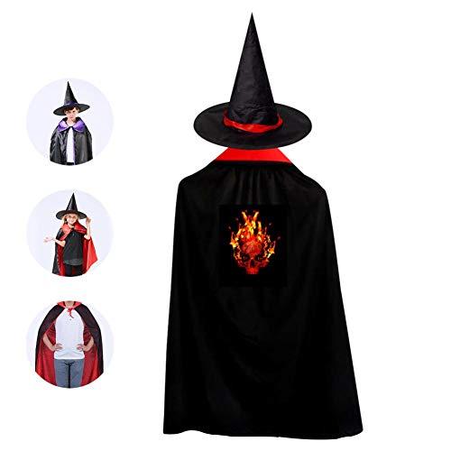 69PF-1 Halloween Cape Matching Witch Hat Skull Fire Flames Wizard Cloak Masquerade Cosplay Custume Robe Kids/Boy/Girl Gift -