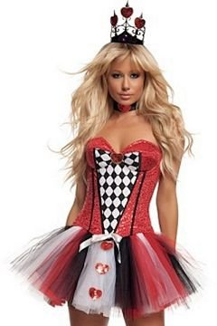 Starline Women's Feisty Queen Of Hearts Sexy Costume Set, Red, ()