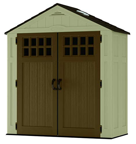 Suncast 6 ' x 3' Vertical Storage Shed - Outdoor Storage for Backyard Tools and Accessories - All-Weather Resin Material, Transom Windows and Shingle Style Roof - Wood Grain Texture (Plastic Large Garden Storage)