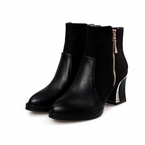 Reißverschluss Ferse Schwarz Martin Farbe Moderne Stiefel Block Carolbar Sortierte Frauen w4nqYAXAB