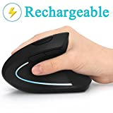 Ergonomic Mouse, Vertical Wireless Mouse - 7Lucky Rechargeable 2.4GHz Optical Vertical Mice : 3 Adjustable DPI 800/1200/1600 Levels 6 Buttons, for Laptop, PC, Computer, Desktop, Notebook etc, Black
