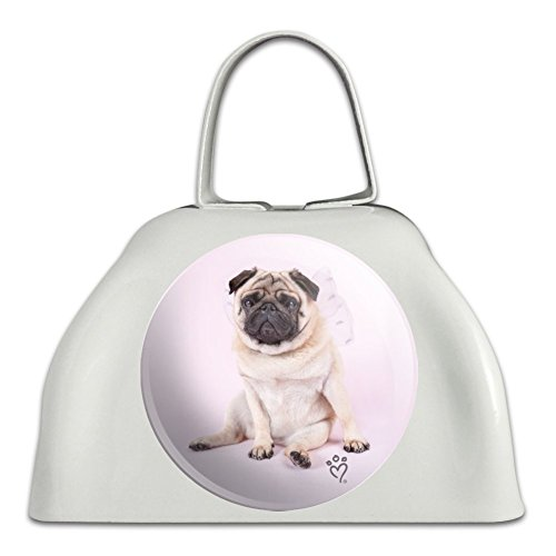 Pug Puppy Dog with Angel Wings Pink White Metal Cowbell Cow Bell Instrument ()