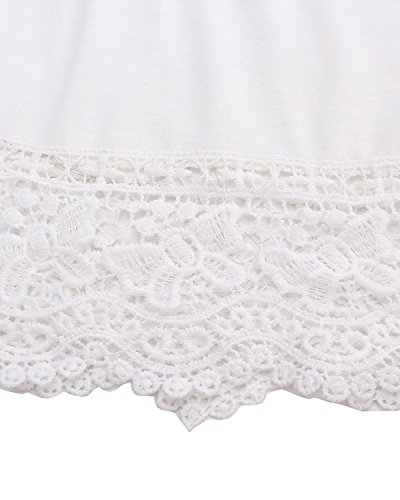 StyleDome Mujer Camiseta Tirantes Blusa sin Mangas Encaje Encaje Elegante Deportiva Oficina Casual Blanco