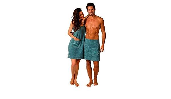 Wellness Toalla de sauna Lausanne Sauna para Hombre y Mujer, Color: palomas - Azul Material: 360 G/M², 100% algodón, 100% algodón, azul, Herren Saunakilt: ...