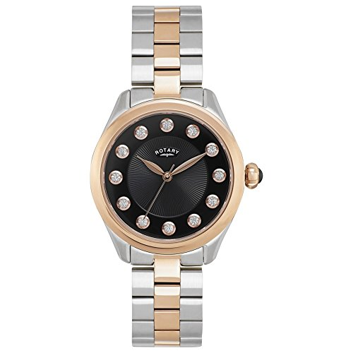 Rotary Women's Quartz Watch with Black Dial Analogue Display Quartz Stainless Steel Coated LB00305/10