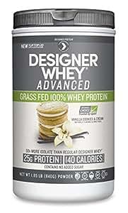 Designer Protein Natural Whey Grass-Fed Advanced Powder, Vanilla Cookies & Cream, 1.85 Pound