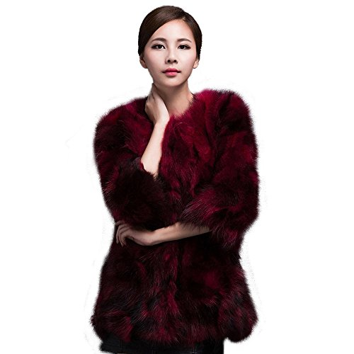 Fur Story Women's Long Real Raccoon Fur Coat 3/4 Sleeve R...