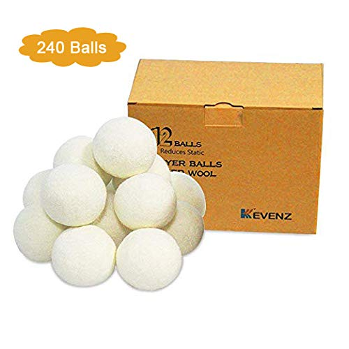 240-Pack Kevenz XL Premium Australian Wool Dryer Balls,Reusable Organic Natural Fabric Softener and Static Reducer Ball (White,240-pack)