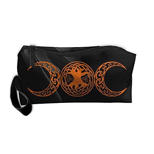 Triple Moon Pentacle Portable Zipper Storage Bag Portable Travel Storage Bags Kits Medicine And Makeup Bags