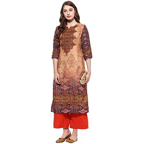 Lagi Kurtis Ethnic Women Kurta Kurti Tunic Printed Top Dress Casual Wear New Launch (Peach)