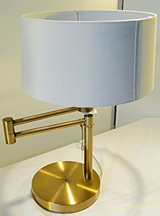 Delightful Ralph Lauren Home Antiqued Brass / Gold Swing Arm Table Lamp With White Lamp  Shade