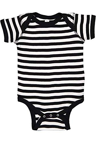 Striped Baby Onesie in Red Pink Blue for Infant Girls or Boys Quality and Super (6 Month, Striped Black)