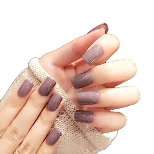 JINDIN 24 Sheet Square Fake Nails Tips with Glue False Nails Full Cover for Women Nail Art Solid Color