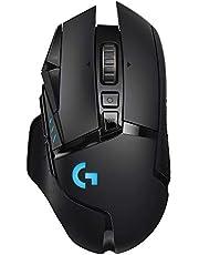 Logitech G502 LIGHTSPEED Wireless Gaming Mouse, HERO 25K Sensor, 25,600 DPI, RGB, Adjustable Weights, 11 Programmable Buttons, Long Battery Life, On-Board Memory, PC / Mac