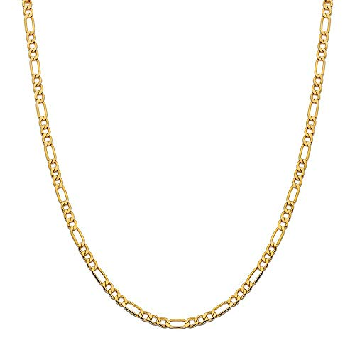 14K Yellow Gold 3.5mm Figaro Link Chain Necklace- Made In Italy- Multiple Lengths Available (18)