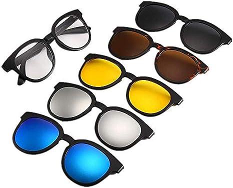 Superlight unisex gafas de sol polarizadas, gafas de sol redondas retro estilo con lentes intercambiables for 5 x Hombres Mujeres irrompible TR90 marco clip de gafas de sol UV Protección Magic Con Mag