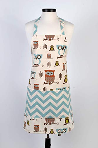 (Womens Kitchen Apron Canvas Chef - Owls in Blue and Browns Retro Vintage Apron - Three Large Pockets, Towel Loop and Adjustable Neck Ties)