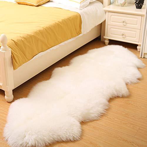 - Sheepskin Rug White Genuine 100% Natural Hair 7-8cm Double Sized 75×210cm/29.5