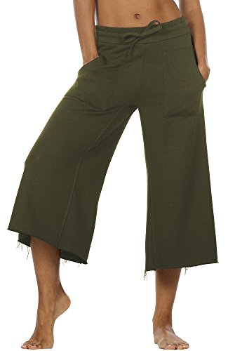 icyzone Culottes Capri Pants for Women - Elastic Waist Wide Leg Joggers Casual Lounge Cotton Sweatpants with Pockets (S, Army)