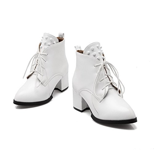 Women's up top AgooLar with Kitten PU Boots Low White Rivet Heels Lace Solid Yqaxdxtfw